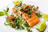 Grilled Salmon Steak with Rice and Tomato, Mint, Coriander and Lime Salsa
