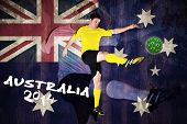 Football player in yellow kicking against australia flag in grunge effect