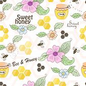 Vector seamless pattern of bees, honeycombs, honey and flowers