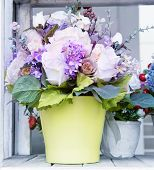 Flowers Bouquet In Green Jug Arranged For Decoration In Home Use For Multipurpose Beautiful Backgrou