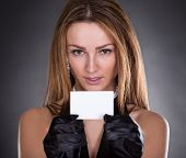 Young Woman Holding Visiting Card
