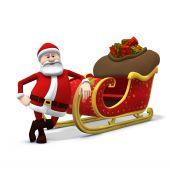 Santa Leaning Against His Sleigh