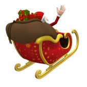 Santa Flying Away - With Clipping Path