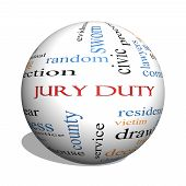 Jury Duty 3D Sphere Word Cloud Concept