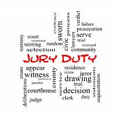 Jury Duty Word Cloud Concept In Red Caps