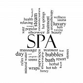 Spa Word Cloud Concept In Black And White
