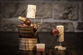 Wine Cork Figures, Concept Two Men Squeezing Grape Juice