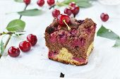 stock photo of cherry pie  - homemade cherry pie with sweet cherry berries - JPG