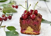 picture of cherry pie  - homemade cherry pie with sweet cherry berries - JPG