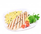 image of pangasius  - Grilled pangasius steak with potato - JPG