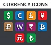 Currency Icons Set With Shadow.