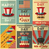 foto of patriot  - Independence Day American Posters Set in Retro Style - JPG