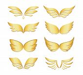 stock photo of archangel  - Set of eight different pairs of golden wings depicting angels  fairies  fantasy  celestial beings  religion and spirituality  illustration isolated on white - JPG