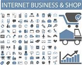 internet business, commerce, shop icons, signs set, vector