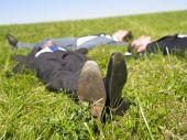 Businessmen Lying In The Grass