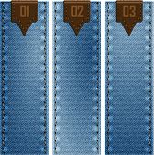 stock photo of denim wear  - Three banners of denim texture - JPG