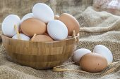 picture of hen house  - A bowl with free range eggs in the hen house - JPG