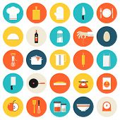 Kitchen Cooking Tools And Utensils Flat Icons