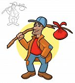 image of hobo  - Illustration of a hobo holding his bindle sack - JPG
