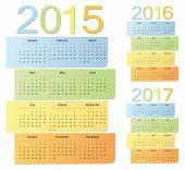 Set Of European 2015, 2016, 2017 Color Vector Calendars