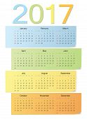 European Color Vector Calendar 2017