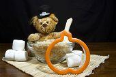 Thanksgiving Bear Making Pumpkin Cookies