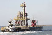 Tug Boat Transporting Oil Platform Equipment
