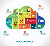 cloud computing infographic Template with interface icons, puzzle, clouds and text. cloud computing