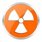 radiation orange glossy icon