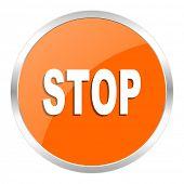 stop orange glossy icon