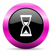 time pink glossy icon