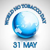 World No Tobacco Day concept with stylish blue text and globe on grey background.