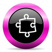 puzzle pink glossy icon