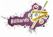 Ball and cue for playing  billiard game over grunge splash. Eps10 vector illustration. Isolated on w