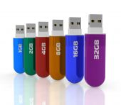 picture of usb flash drive  - Set of different capacity color glossy plastic USB flash drives - JPG