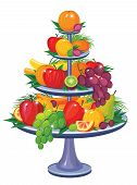 Mix fruits and berries on three tier vase