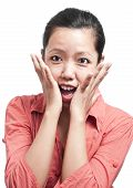 image of jaw drop  - Young woman expressing surprise with hand into the cheeks