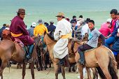 Horseback Spectators In Traditional Costume, Nadaam Horse Race