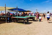 Nadaam Horse Race Spectators Play Pool On Steppe