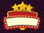 stock photo of marquee  - Shiny color cinema gold banner with stars - JPG