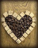 Heart shape of coffee Beans