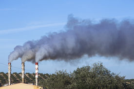 stock photo of gases  - Chimney expelling pollutant gases to the air between branches of olive Jaen Spain - JPG