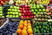 Counter With Different Fruits On The Market