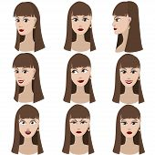 Set of variation of emotions of the same girl with brown hair.