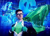Superhero Businessman Stock Exchange Finance Concept