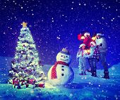 Christmas Tree Family Carol Snowman Concept