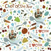 Chef of the Year seamless pattern.