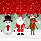 Santa Claus, a reindeer and a snowman