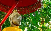 Buddha Under The Bodhi Tree And Red Umbrella.
