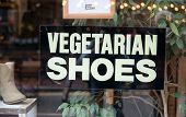 Sign for Vegetarian Shoes on a storefront advertising shoes made from plant materials